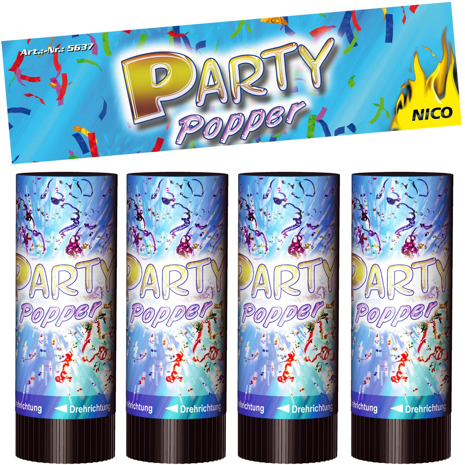 Party Popper 10 Cm 4er Btl Party Popper Und Confetti Shooter